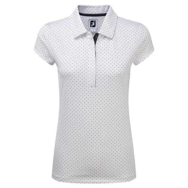 Femmes's Printed Dot Smooth Pique Cap Sleeve-Modèle de l'année Précédente