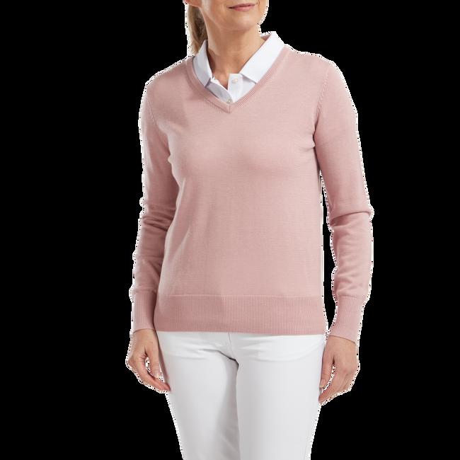 Pullover Col V Mélange de Laine Femmes