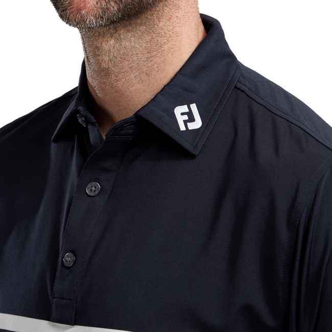 Polo technique fil d'Ecosse avec rayures sur poitrine